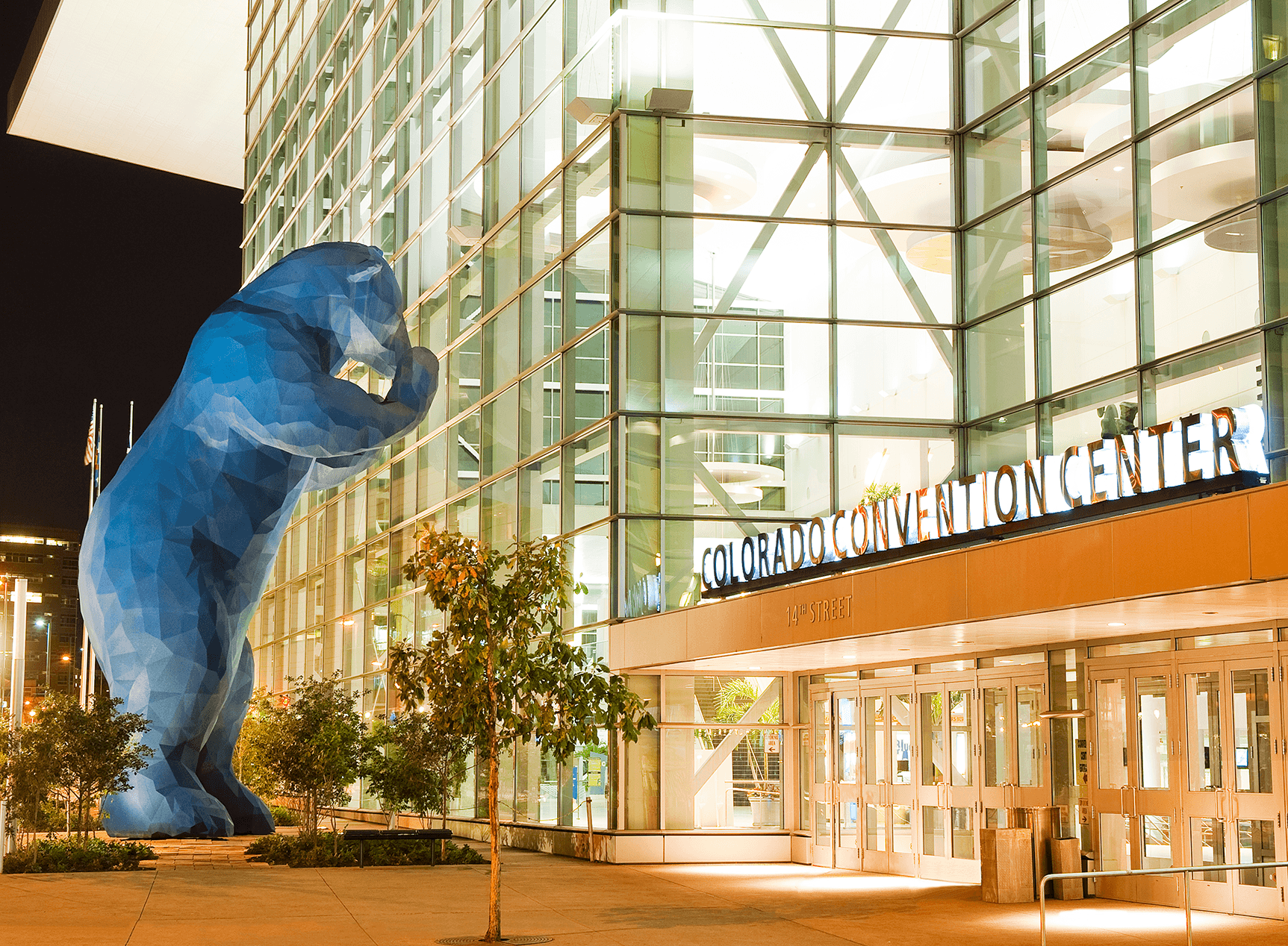 Giant Blue Bear looking in to Colorado Convention Center