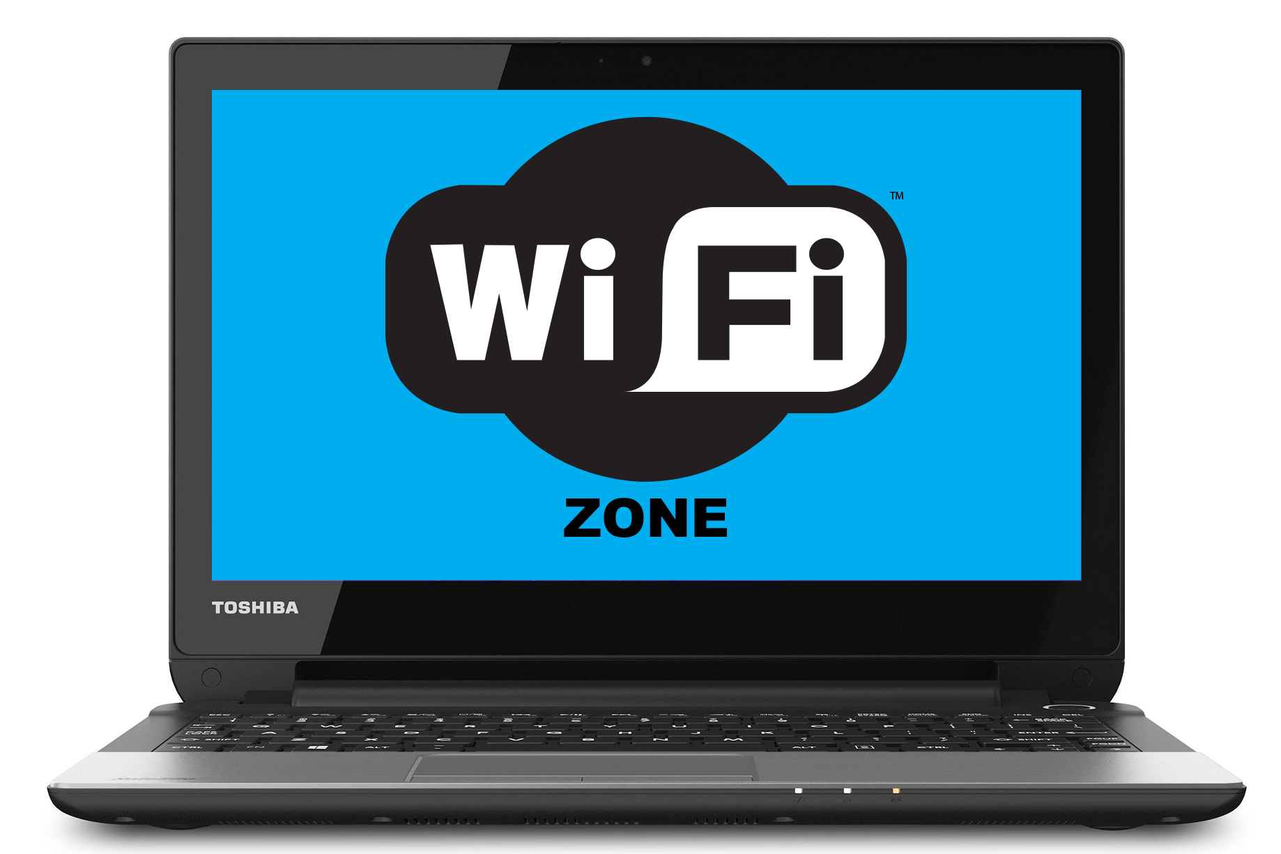 Toshiba laptop with WiFi Zone on the screen.