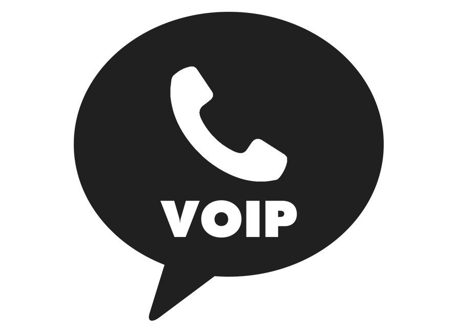 Speech bubble with a white phone and VOIP