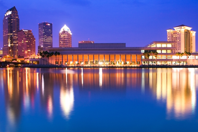 Tampa Convention Center and its reflection off the water.