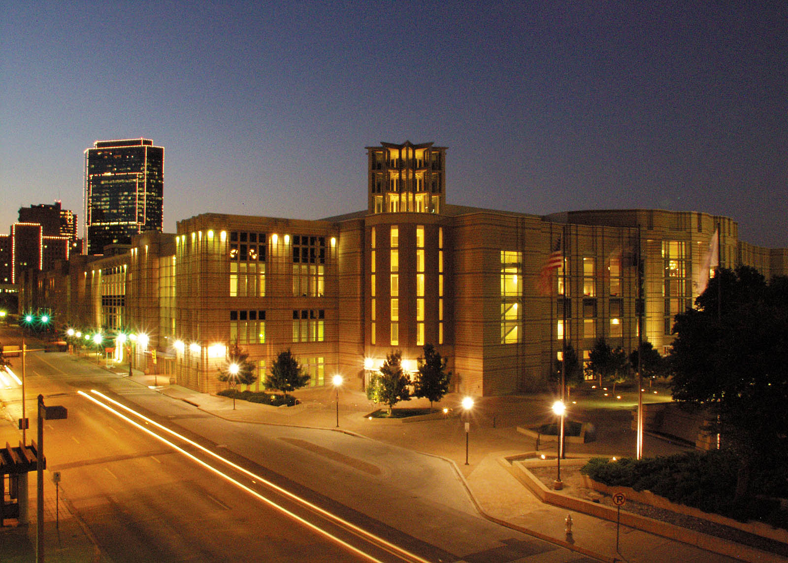 Fort Worth Convention Center at dusk.