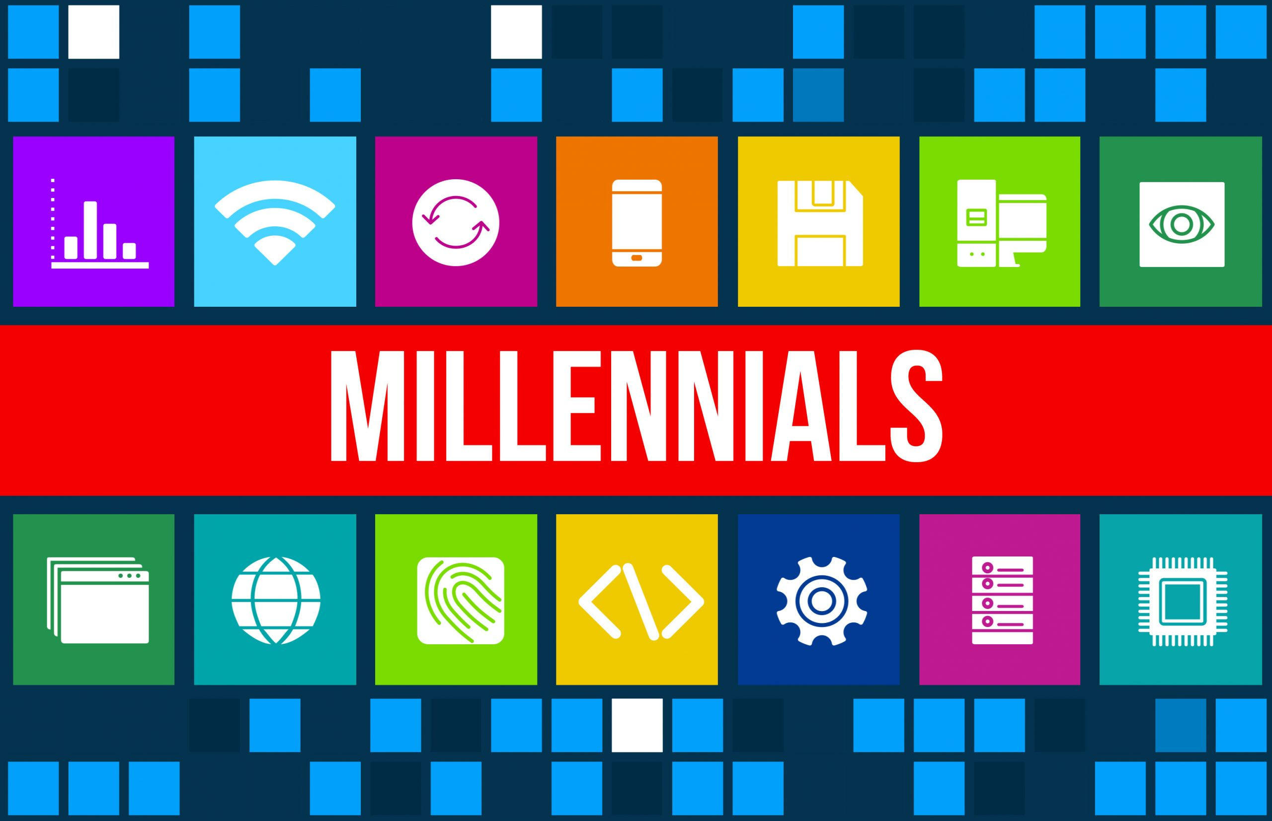 Millennials concept image with business icons
